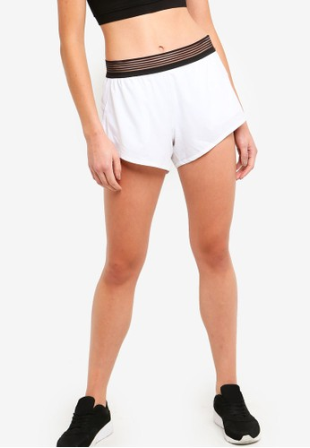 DKNY white Shadow Elastic Running Shorts 294DAAA6898F9AGS_1