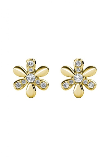 Her Jewellery gold Fleur Earrings (Yellow Gold) - Made with Premium grade crystals from Austria 7A82AAC80ED707GS_1