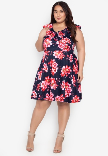 b4c6840a80c Shop Ashley Collection Plus Plus Size Ruffle Detail Flare Dress Online on  ZALORA Philippines
