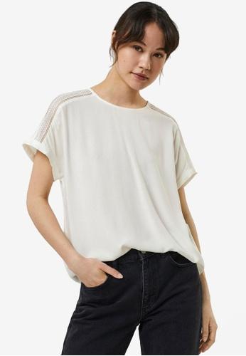 Vero Moda white Nads Lace Short Sleeved Top C4D13AAA3D31D5GS_1