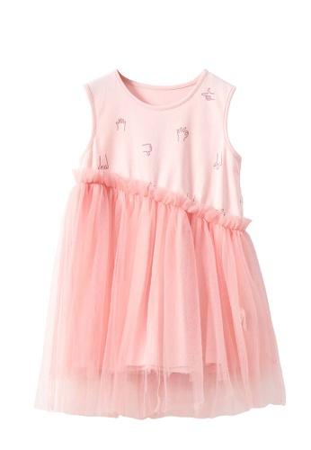 M.Latin pink Printed Sleeveless Dress with Asymmetrical Mesh ADF2DKADABBE14GS_1