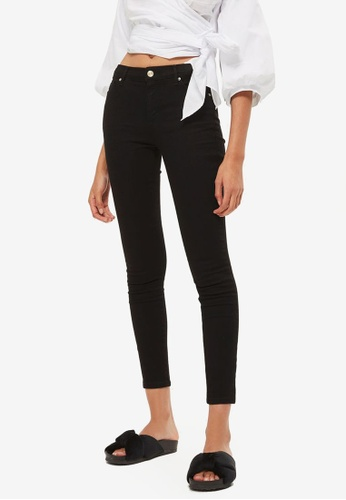 TOPSHOP black Moto Black Sidney Jeans TO412AA0S2ZHMY_1