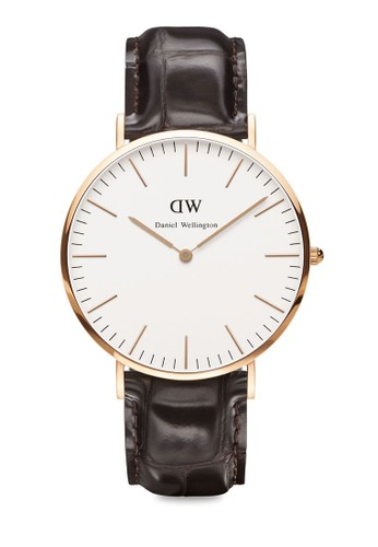 Classic York-Watcesprit 工作h Rose gold 40mm, 錶類, 皮革錶帶