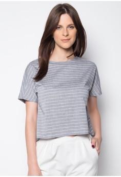 Chambray Stripes Back Overlap Short Sleeve Shirt