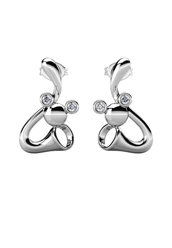 Her Jewellery silver Trumpet Mice Earrings (White Gold) - Made with Premium grade crystals from Austria E0E47AC527CA6CGS_1