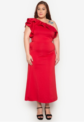 Ashley Collection Plus red Plus Size Love One Shoulder Ruffle Maxi Dress AS083AA0JW0DPH_1