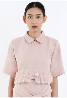 [PRE-ORDER] Blush Cropped Shirt with Frayed Hem