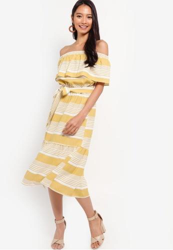 ZALORA white and yellow Off Shoulder Midi Dress 1CBAAAA937F400GS_1