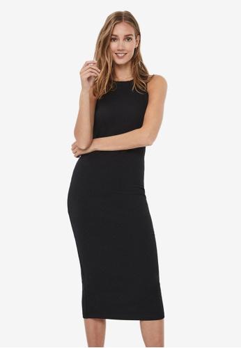 Vero Moda black Tight Midi Dress 18A4DAA87C3C1EGS_1