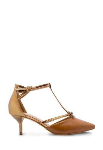 Sepatu Wanita Low Heels Gold Coklat