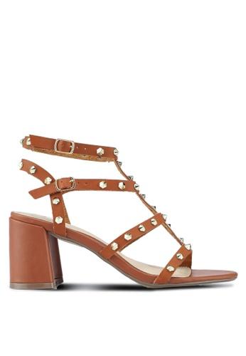 MISSGUIDED brown Studded Flared Heel Gladiator Sandals C720FSHC7B7440GS_1