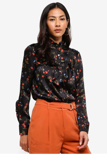 Hopeshow black Floral Print Long Sleeve Button Blouse E6C5FAA5356683GS_1