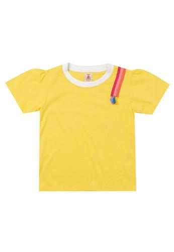 Tiny Button yellow Girl Tassel Unique Yarn T-Shirt 35506KA551AA53GS_1