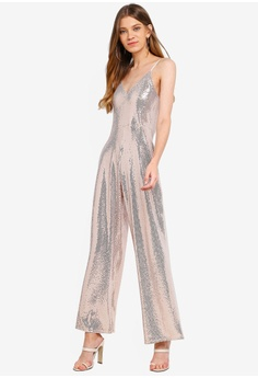 b62d451141e 50% OFF Miss Selfridge Champagne Sequin Culotte Jumpsuit RM 299.00 NOW RM  148.90 Sizes 8