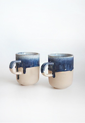 Your Lagom blue and beige Dripping Glaze Matte Cup 8B93FHL755C9CBGS_1