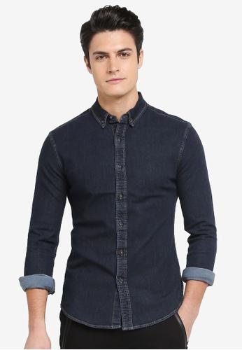 Topman blue Denim Stretch Shirt 58557AAF0251AEGS_1