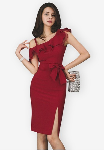 Sunnydaysweety red One Shoulder Flounce One Piece Dress 442C9AABD98A2DGS_1