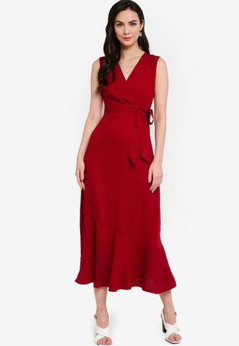 ZALORA WORK red Sleeveless Wrap Midi Dress 0BB0AAAD5327E6GS_1