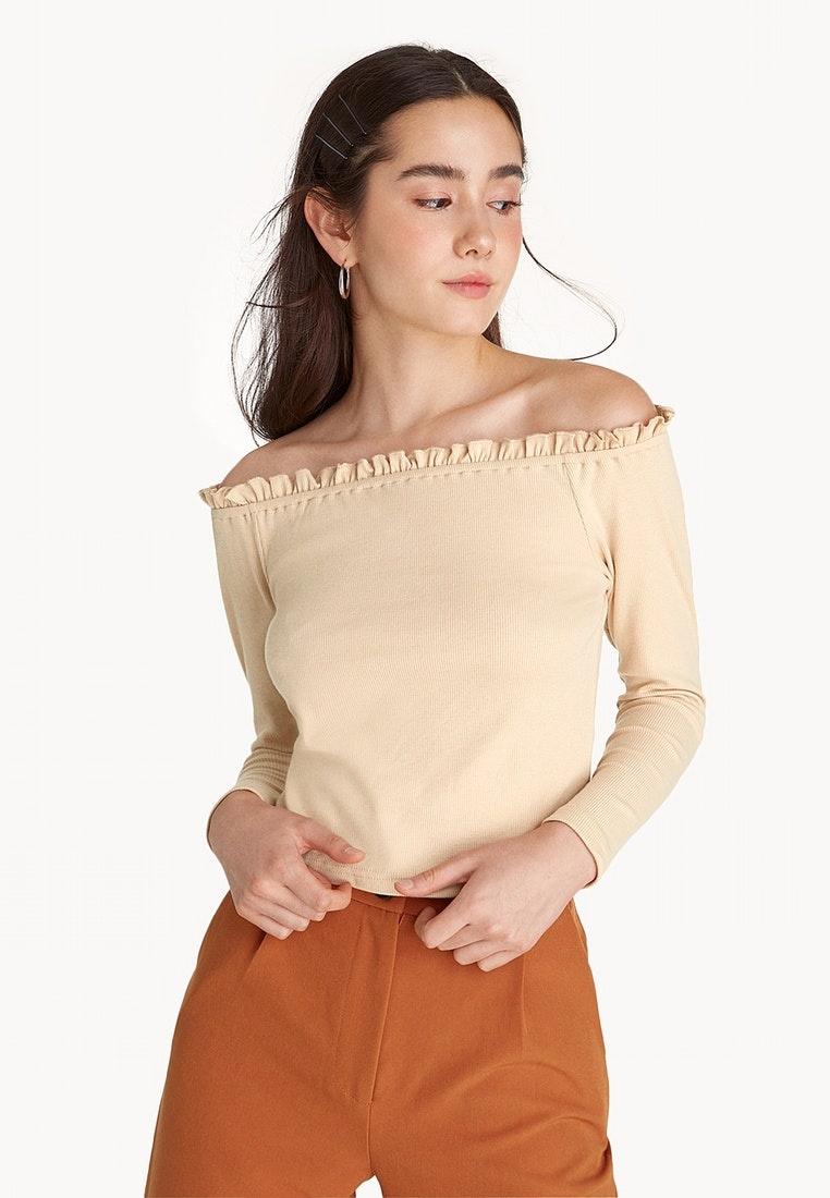 Ruffled Top Pomelo Off Shoulder Cream Cream vxOSdRqwS