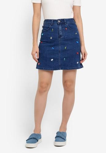 Something Borrowed blue Embellished A-Line Mini Skirt 85497ZZ143A347GS_1