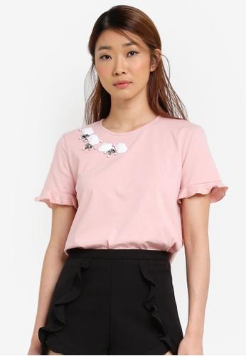 Something Borrowed pink Embellished Neckline Tee A7907AA83CDC1CGS_1