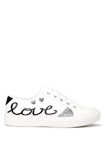 London Rag white LOVE Lace-up Sneakers SH1662 07F2CSHE830A0EGS_1