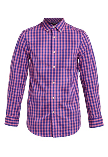 Chaps pink and blue Chaps Checked Twill Shirt 678E4AA1EE9C07GS_1