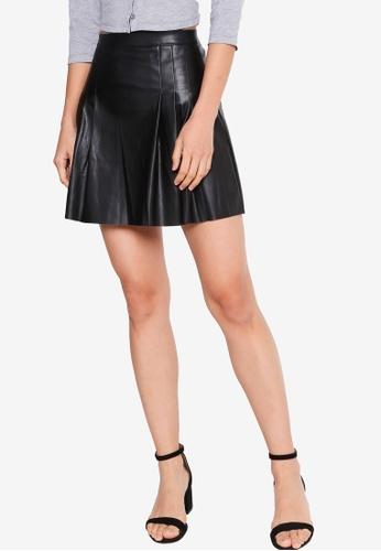 ZALORA BASICS 黑色 Co-Ord Pleated PU Skirt AD065AA5F5FAA7GS_1