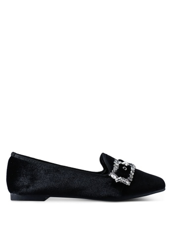 Nose 黑色 絲絨鑽飾平底鞋 7982CSH412D606GS_1