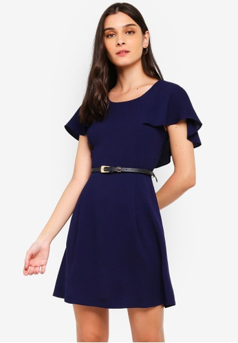 ZALORA 海軍藍色 Capelet Fit And Flare Dress With Belt 8B6C1AA492166BGS_1