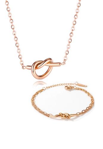 CELOVIS gold CELOVIS - Eternity True Love Knot Necklace + Bracelet Jewellery Set in Rose Gold F3962ACE49CC26GS_1