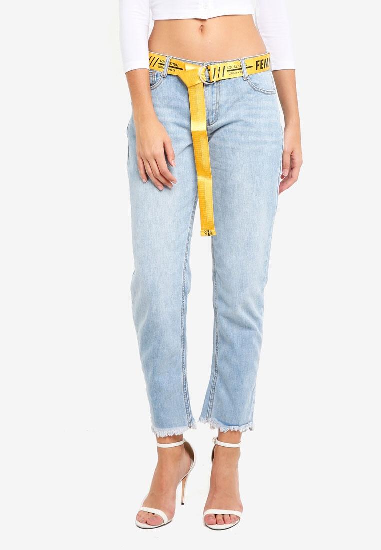 Blue Rise Belted Low Jeans Boyfriend MISSGUIDED Lust 4EqWpPTfwY
