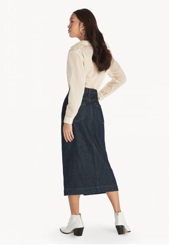 af32ef49e1 Shop Pomelo Midi Front Slit Denim Skirt - Blue Online on ZALORA Philippines
