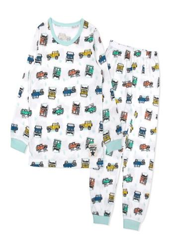 Organic mom white and multi Organic Cotton Thompson Car Long Sleeves Pjs E13EDKA597FD03GS_1