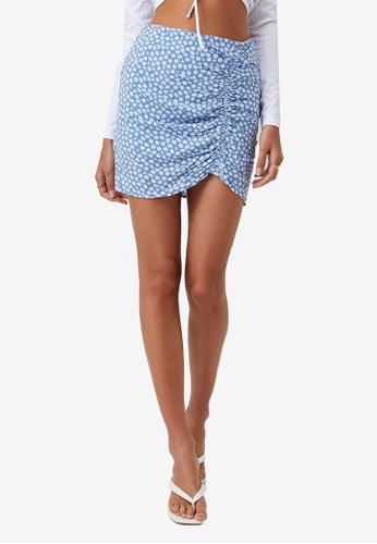 Supre blue Maeve Ruched Mini Skirt 2A018AAC7F46B4GS_1