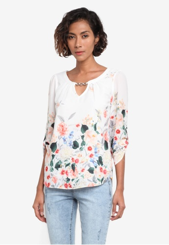 Dorothy Perkins white Billie & Blossom Floral Print Trim Top DO816AA0RPGYMY_1