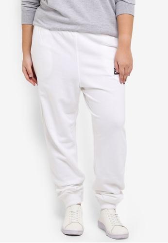 MISSGUIDED white Plus Size Plain Jogger 2D9F4AAD0C3C09GS_1