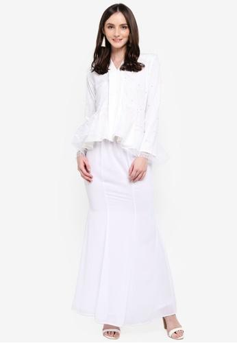Monalisa Kebaya Peplum in White from Nadzri Morshidi in White