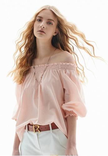 iROO pink Off Shoulder Blouse 3CD40AAEB43977GS_1