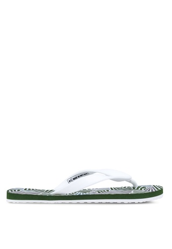 24:01 white and green Geo All Over Flip Flop 24841SH24AVFPH_1