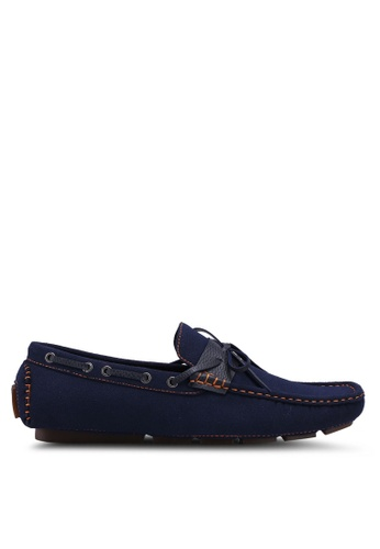 UniqTee 藍色 Strap and Lace Driving Moccasins AD63ASH24B3DFCGS_1