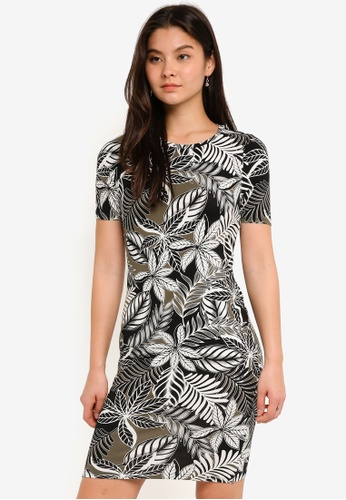 Dorothy Perkins black Khaki Palm Print Bodycon Dress D2A58AAB4E5ABAGS_1