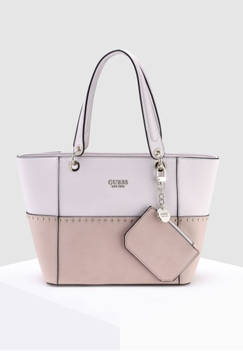 f671fe01f5a3 Guess pink and multi Kamryn Tote Bag C4ABCACB18EBE7GS 1