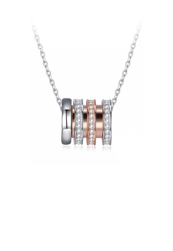 Glamorousky white 925 Sterling Silver Plated Rose Gold Simple Geometric Cylindrical Cubic Zircon Pendant with Necklace 3F29CAC9038A92GS_1