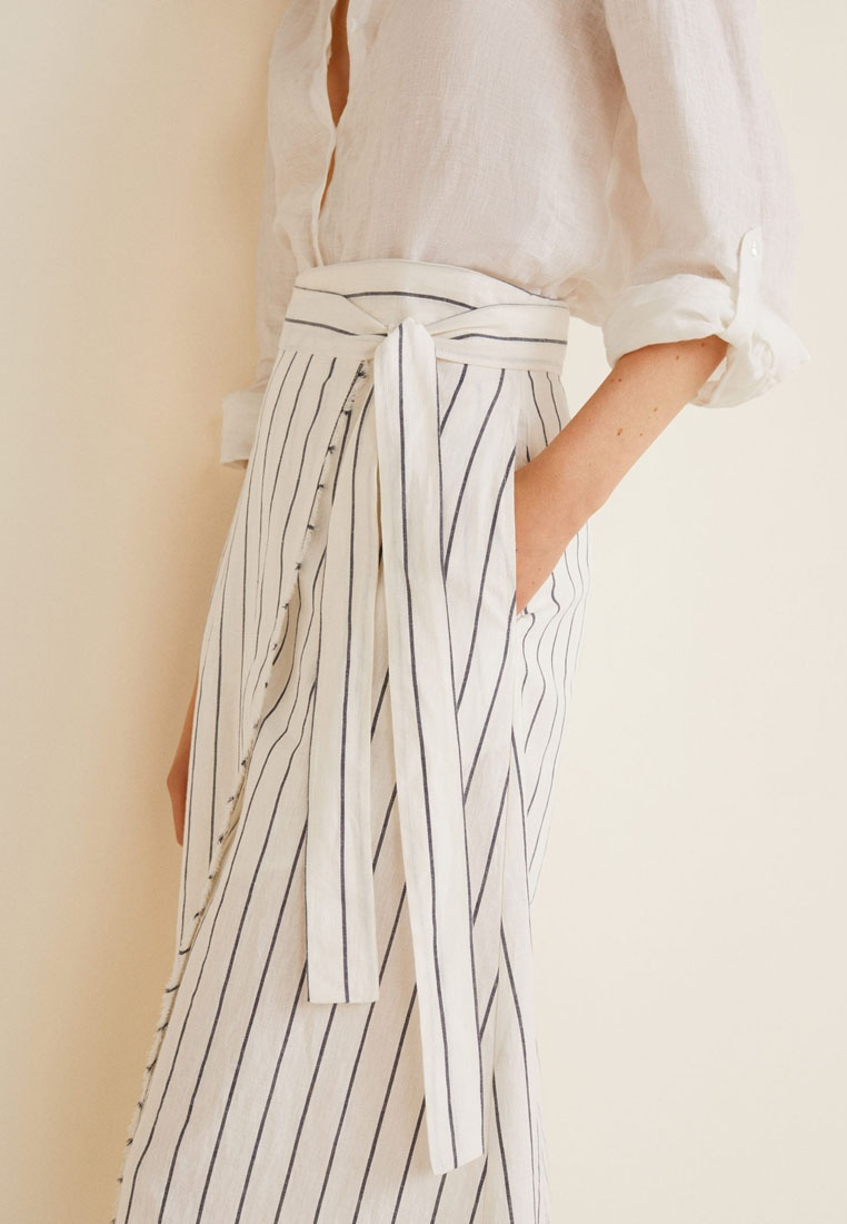 Mango White Natural Striped Skirt Wrap 8qwI78Wcr