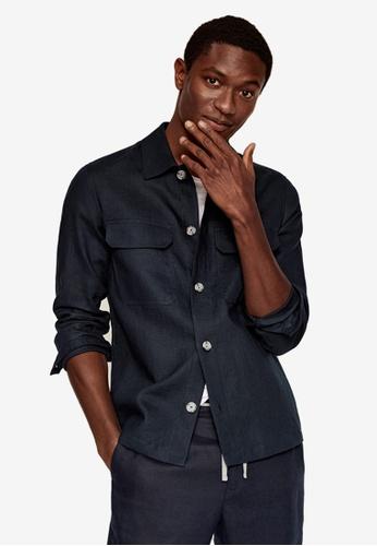 MANGO Man blue Linen Overshirt With Pockets 4E257AAD612F08GS_1