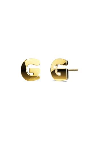 Bullion Gold gold BULLION GOLD Dainty Alphabet Letter Earring Gold Layered Steel Jewellery  G E88A3AC2880437GS_1