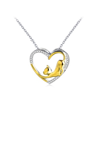 Glamorousky white 925 Sterling Silver Fashion Cute Golden Cat Heart Pendant with Cubic Zirconia and Necklace 4B7DDAC5CC083DGS_1