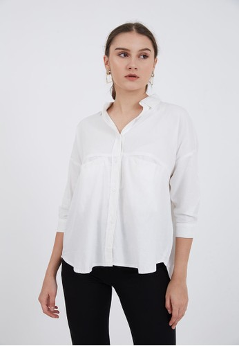 Berrybenka Label white Sophie Karuma Plain Blouse White 76C29AA9C8F3C3GS_1