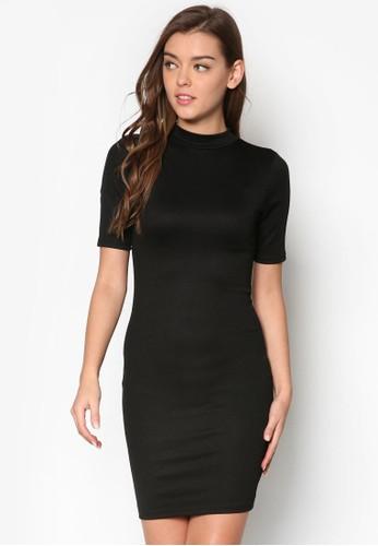 高領五分袖貼身連身裙, 服esprit手錶專櫃飾, 洋裝